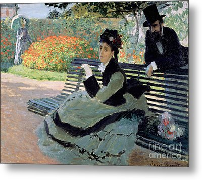 Madame Monet On A Garden Bench Metal Print by Claude Monet