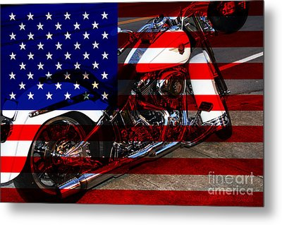 Made In The Usa . Harley-davidson . 7d12757 Metal Print by Wingsdomain Art and Photography