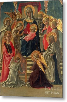 Madonna And Child Enthroned With Angels And Saints Metal Print by Fra Filippo Lippi