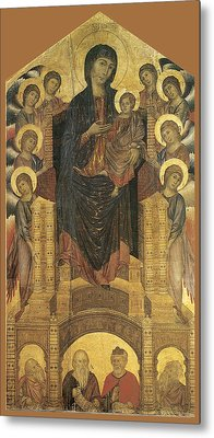 Madonna And Child Enthroned With Eight Angels Metal Print by Cimabue