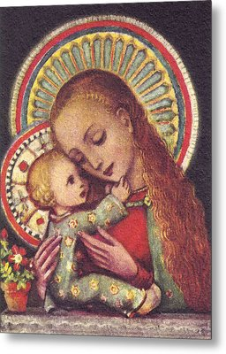 Madonna And Child Halos Metal Print by Unknown