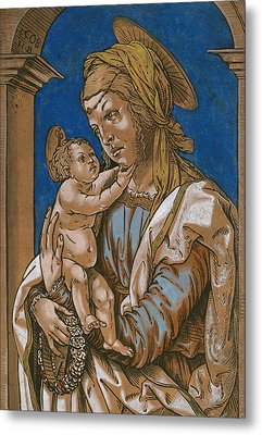 Madonna And Child Under An Arch Metal Print by Hans Burgkmair