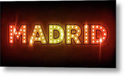 Madrid In Lights Metal Print by Michael Tompsett