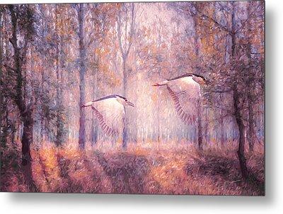 Magical Forests Impressionism Rose Quartz Tone Metal Print by Georgiana Romanovna