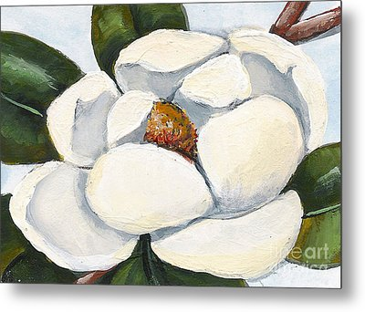 Magnolia On Blue Metal Print by Elaine Hodges