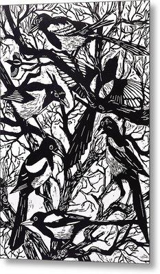 Magpies Metal Print by Nat Morley