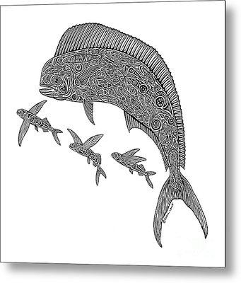 Mahi With Flying Fish Metal Print by Carol Lynne