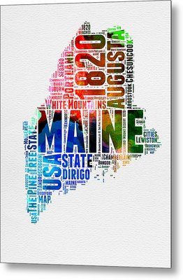 Maine Watercolor Word Cloud  Metal Print by Naxart Studio