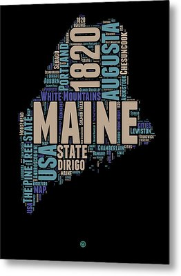 Maine Word Cloud 1 Metal Print by Naxart Studio