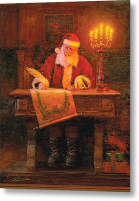 Making A List Metal Print by Greg Olsen