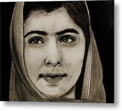 Malala Yousafzai- Teen Hero Metal Print by Michael Cross