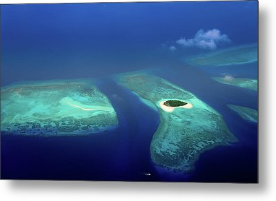 Maldivian Coral Reefs And  Desert Island Metal Print by Jenny Rainbow