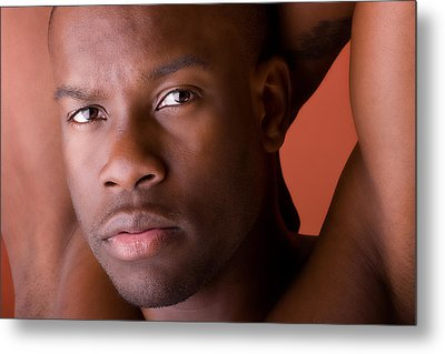 Male Model Portrait In Color Metal Print by Val Black Russian Tourchin