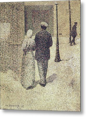 Man And Woman In The Street Metal Print by Charles Angrand