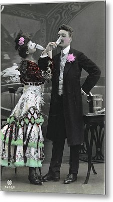 Man And Woman In Vintage Party Clothes Metal Print by Gillham Studios