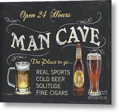 Man Cave Chalkboard Sign Metal Print by Debbie DeWitt