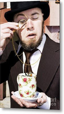 Man Dumbfounded By A Floating Fly Metal Print by Jorgo Photography - Wall Art Gallery