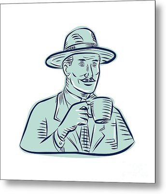 Man Fedora Hat Drinking Coffee Etching Metal Print by Aloysius Patrimonio