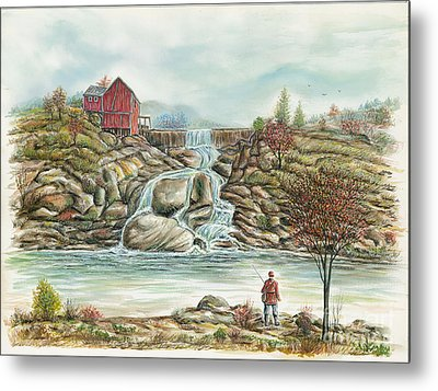 Man In Red Fishing By A Waterfall Metal Print by Samuel Showman