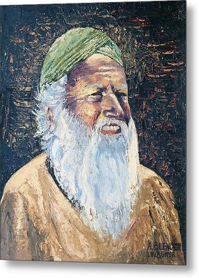 Man In The Green Turban Metal Print by Arline Wagner