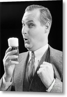 Man With Glass Of Beer, C.1930s Metal Print by H. Armstrong Roberts/ClassicStock