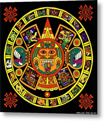Mandala Azteca Metal Print by Roberto Valdes Sanchez