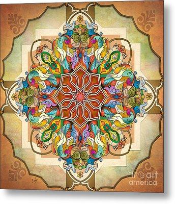 Mandala Birds Metal Print by Bedros Awak