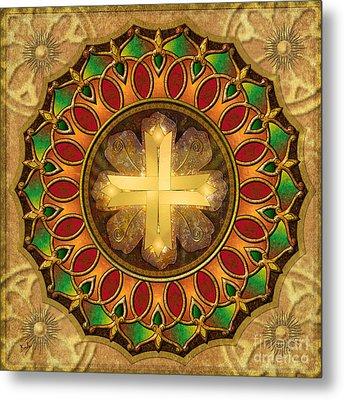 Mandala Illuminated Cross Metal Print by Bedros Awak