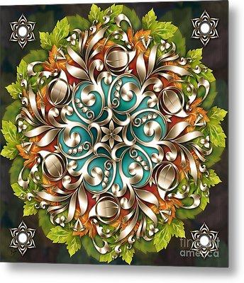 Mandala Metallic Ornament Metal Print by Bedros Awak