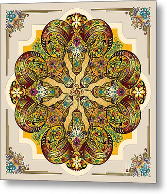 Mandala Sacred Rams - Bright Version Metal Print by Bedros Awak