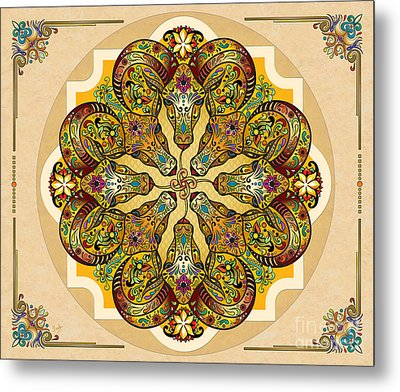 Mandala Sacred Rams - Bright Version Sp Metal Print by Bedros Awak
