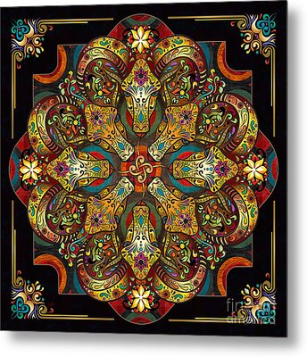 Mandala Sacred Rams - Dark Version Metal Print by Bedros Awak