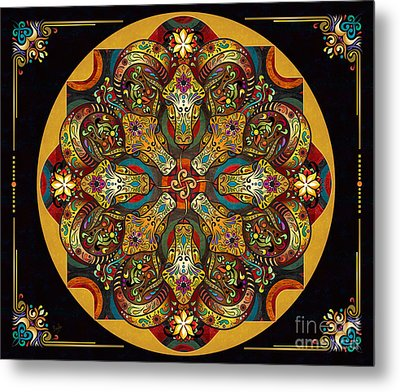 Mandala Sacred Rams - Dark Version Sp Metal Print by Bedros Awak