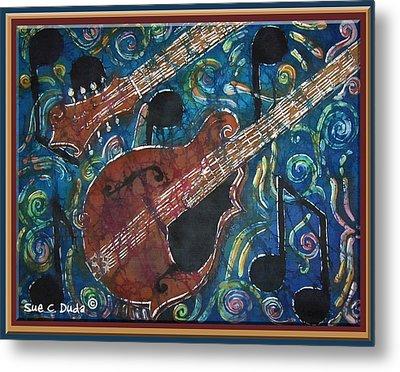 Mandolin - Bordered Metal Print by Sue Duda