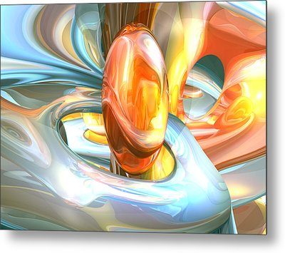 Mango And Cream Abstract Metal Print by Alexander Butler