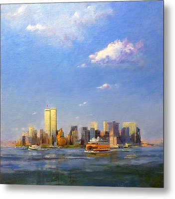 Manhattan And Twin Towers From New York Harbor Metal Print by Peter Salwen