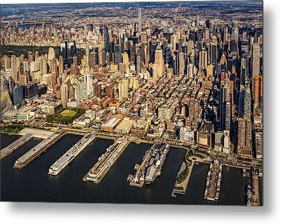 Manhattan New York City Aerial View Metal Print by Susan Candelario