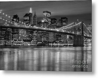 Manhattan Night Skyline Iv Metal Print by Clarence Holmes
