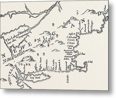 Map Of Colonial New England Metal Print by American School