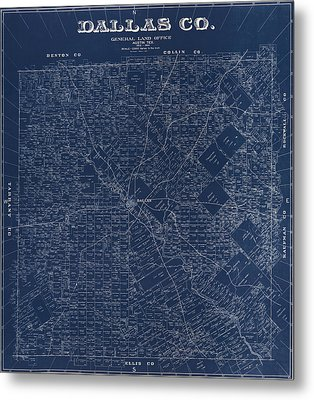 Map Of Dallas 1884 Metal Print by Andrew Fare