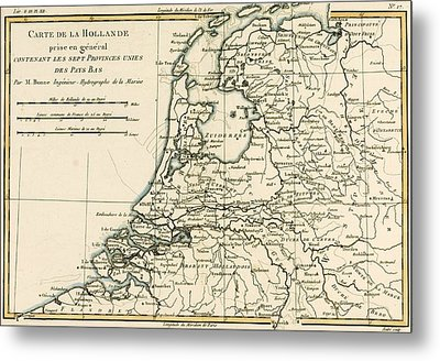 Map Of Holland Including The Seven United Provinces Of The Low Countries Metal Print by Guillaume Raynal