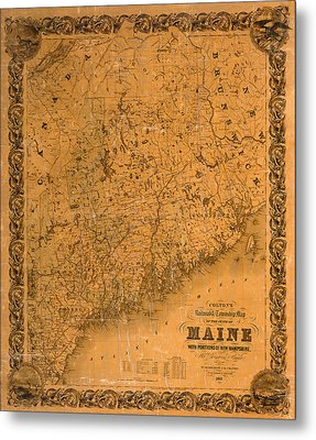 Map Of Maine 1852 Metal Print by Andrew Fare
