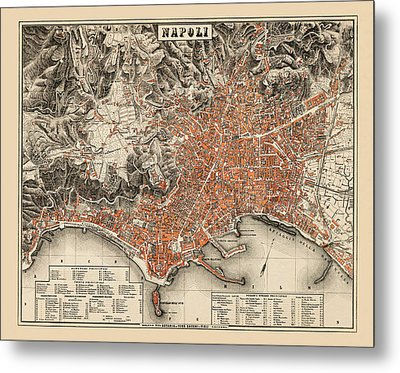 Map Of Naples 1860 Metal Print by Andrew Fare