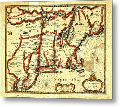 Map Of New England And New York 1676 Metal Print by Mark Rogan
