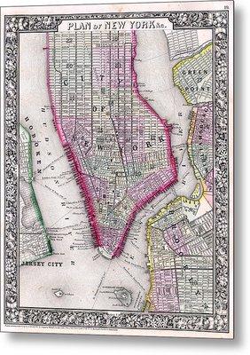 Map Of New York City 1864 Metal Print by Jon Neidert