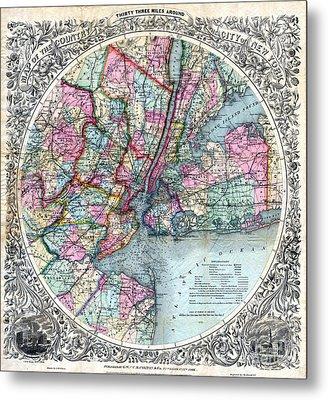 1879 New York City Map Metal Print by Jon Neidert
