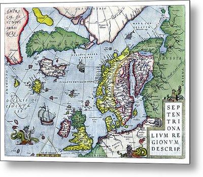 Map Of Northern Europe - Ortelius - 1570 Metal Print by Pablo Romero