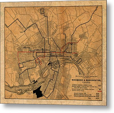 Map Of Richmond Virginia Vintage Street Car Railway Schematic From 1901 On Worn Distressed Canvas Metal Print by Design Turnpike