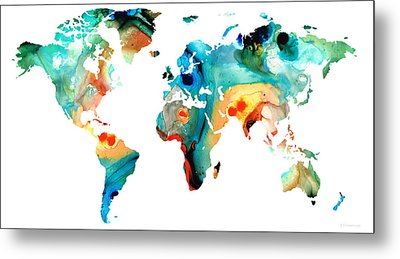 Map Of The World 11 -colorful Abstract Art Metal Print by Sharon Cummings