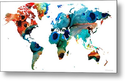 Map Of The World 6 -colorful Abstract Art Metal Print by Sharon Cummings
